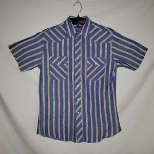 Wrangler western shirt mens M vintage striped snap